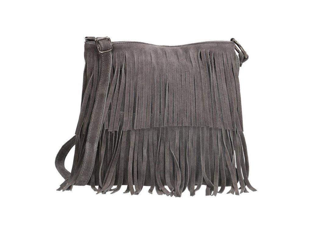 Crossbody kožená strapcová kabelka Charm London Elisa - sivá