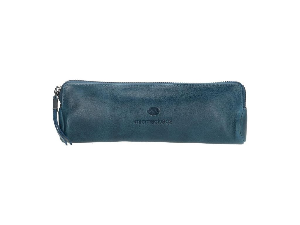 Kožený dámsky peračník/kozmetička Micmacbags - riflová modrá