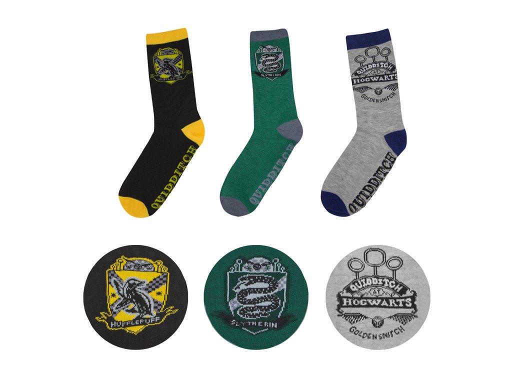 Ponožky Harry Potter 3 kusy v balení - Rokfort - Hogwarts -37-46