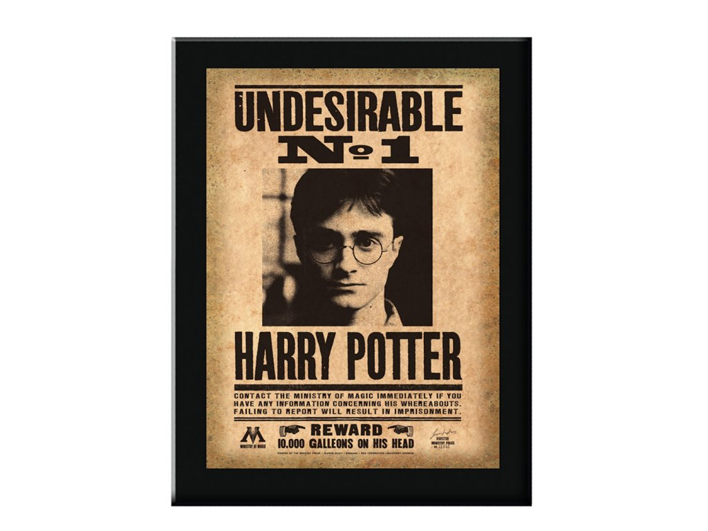 Plagát Harryho Pottera v čiernom ráme