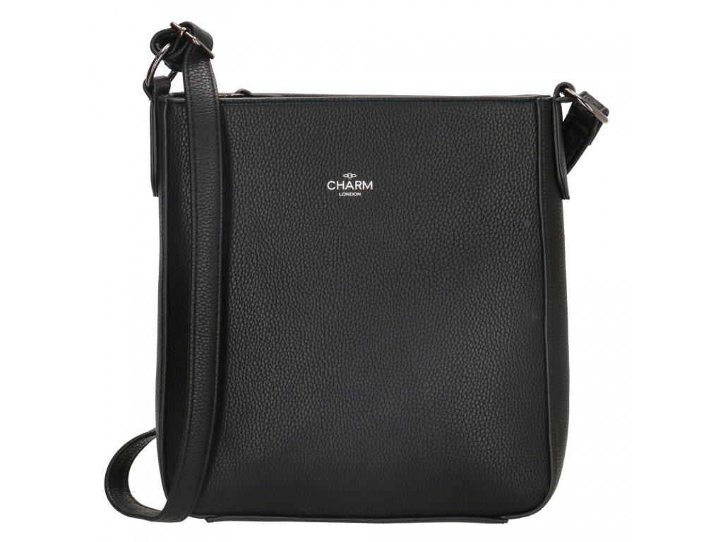 Dámska elegantná crossbody kabelka bez klopy Charm London Stratford - čierna
