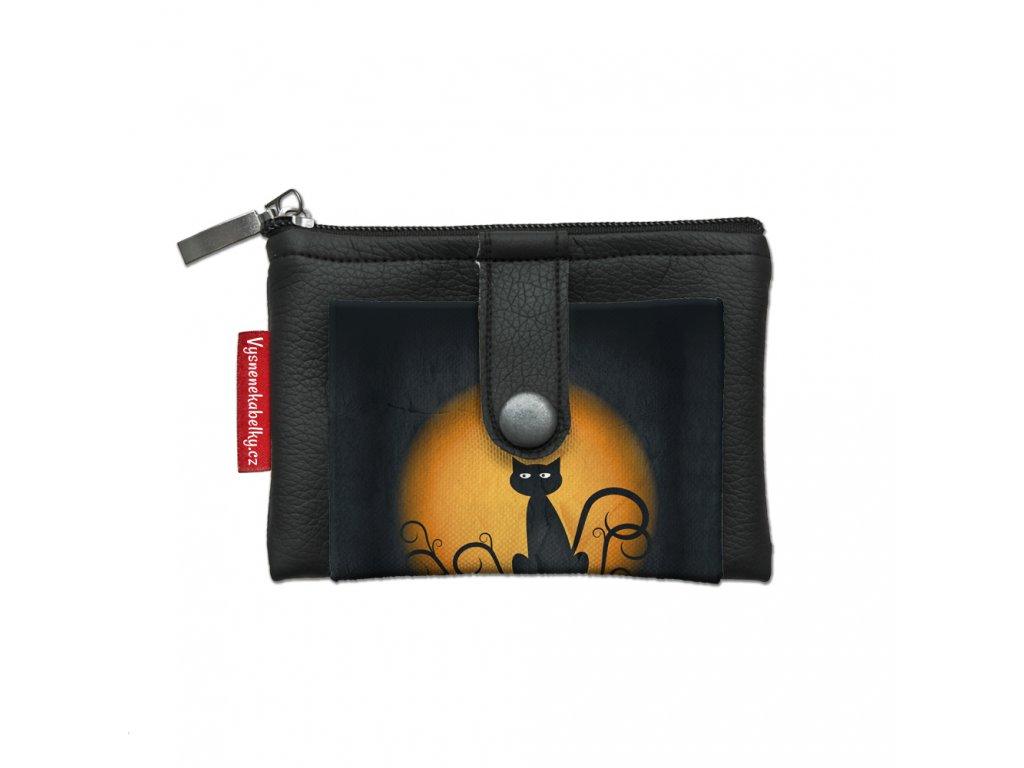 Dizajnová kľúčenka/peňaženka Mačka na mesiaci