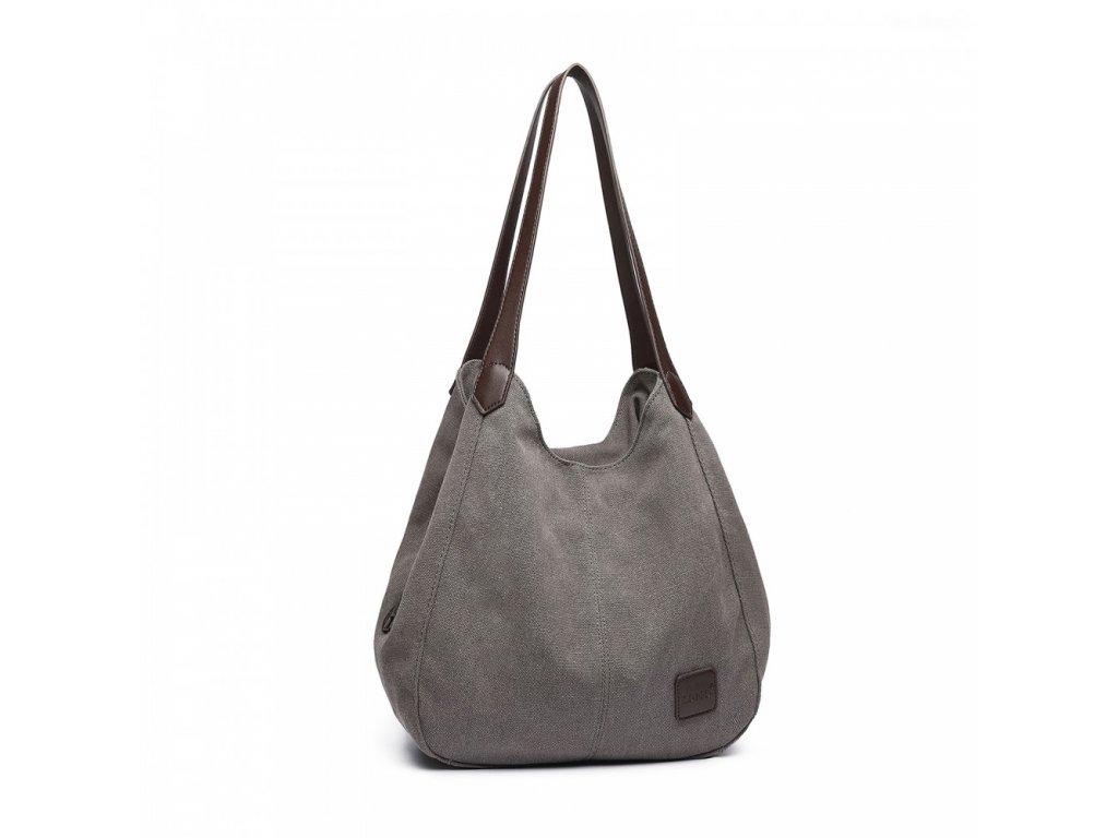 Dámska taška na rameno canvas Kono Savior - šedá