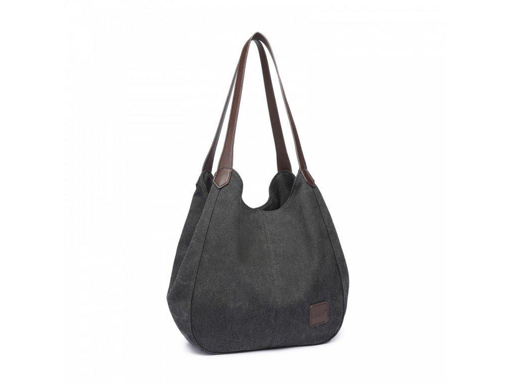 Dámska taška na rameno canvas Kono Savior - čierna