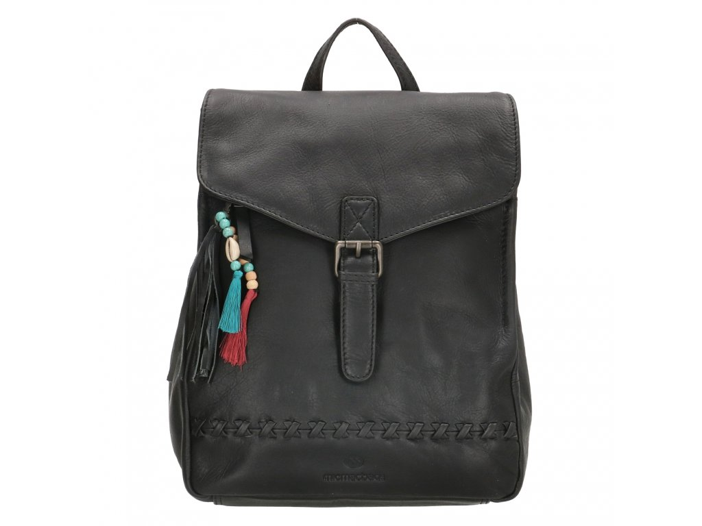 Dámsky kožený batoh Micmacbags Friendship - čierny