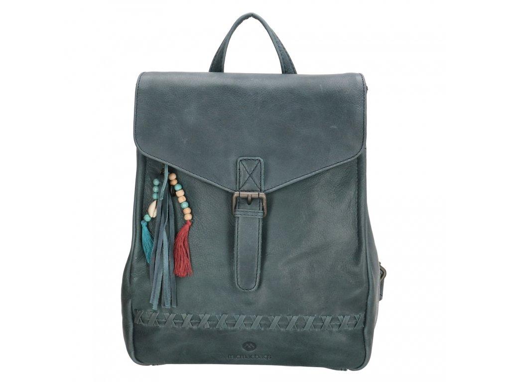 Dámsky kožený batoh Micmacbags Friendship - jeansová modrá