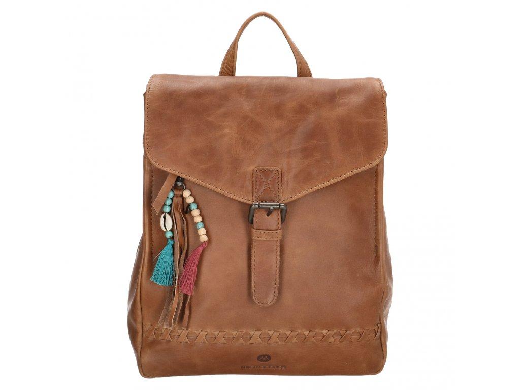 Dámsky kožený batoh Micmacbags Friendship - hnedý