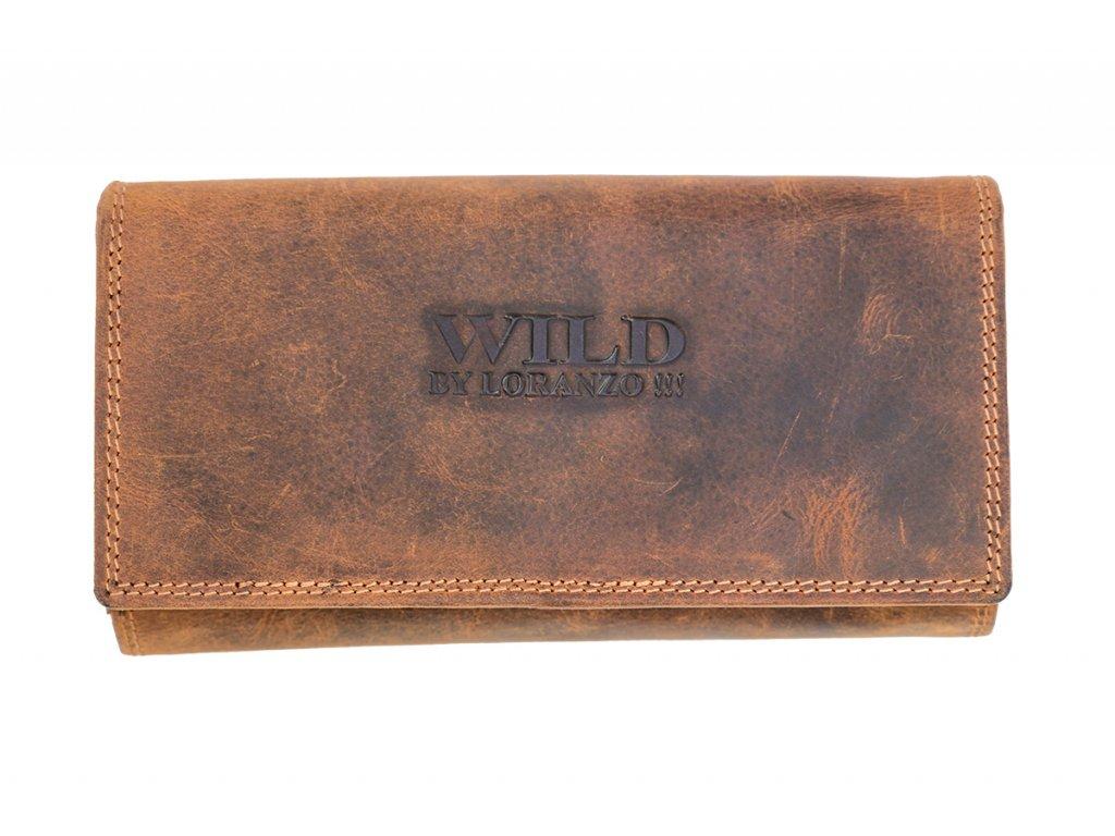 Kožená unisex veľká peňaženka WILD By Loranzo - hnedá