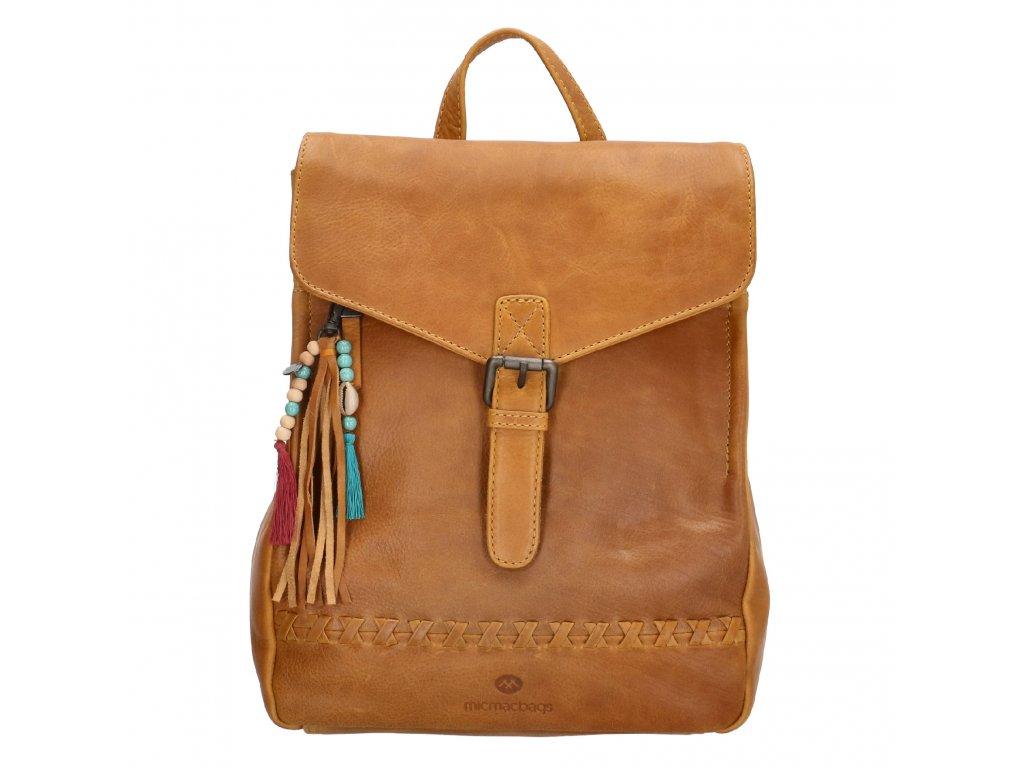 Dámsky kožený batoh Micmacbags Friendship - camel