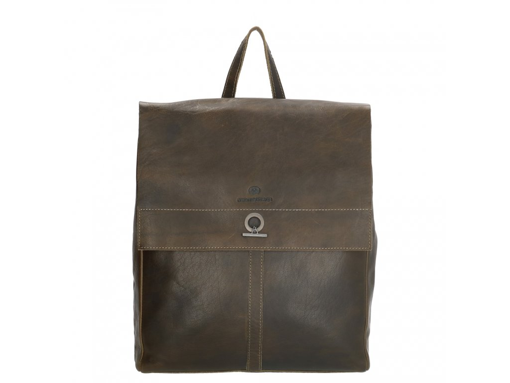 """Dámsky laptop batoh z pravej kože Micmacbags Golden Gate - olivový  (13,3 """")"""