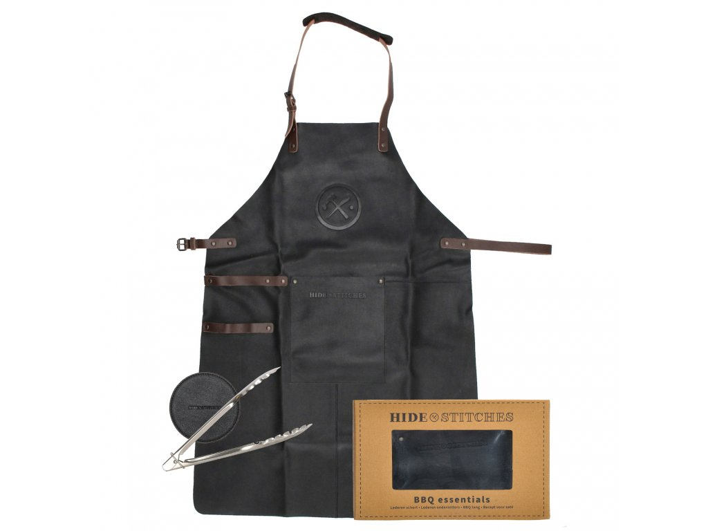 Kožená grilovacia zástera v darčekovom boxe s podtáckami Hide & Stitches barbecue / grill - čierna