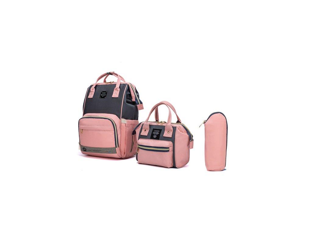 Multifunkčný set batoh a taška v jednom Lequeen - šedo-ružová