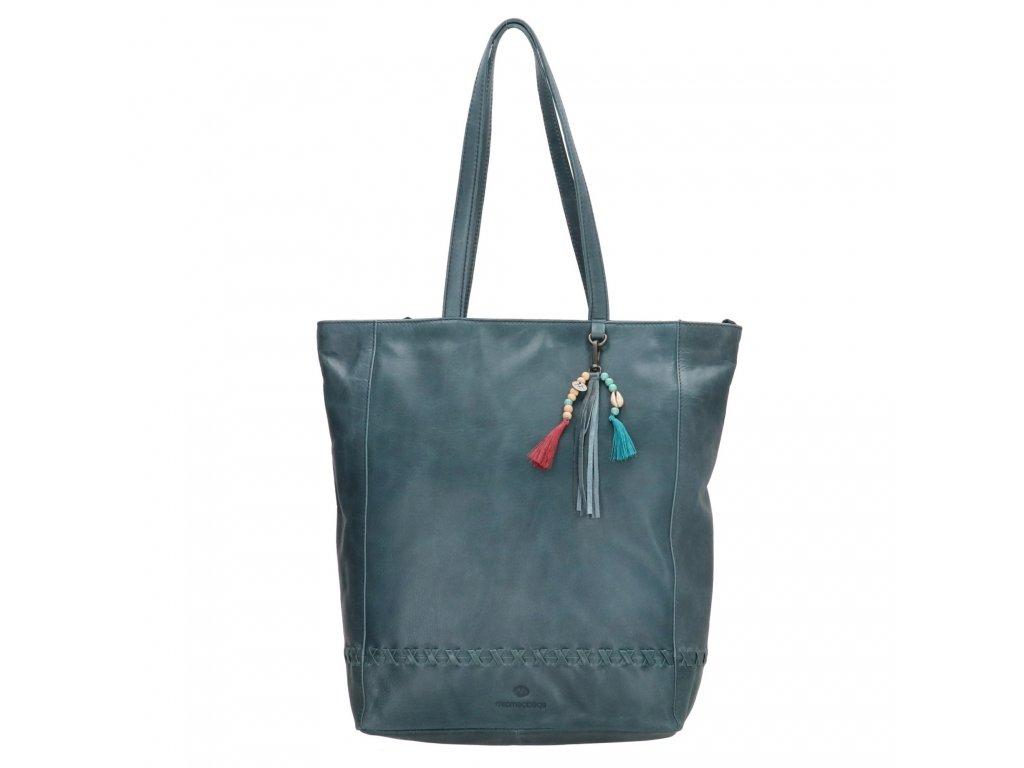 Dámska kožená taška shoperka Micmacbags friendship - jeansová modrá