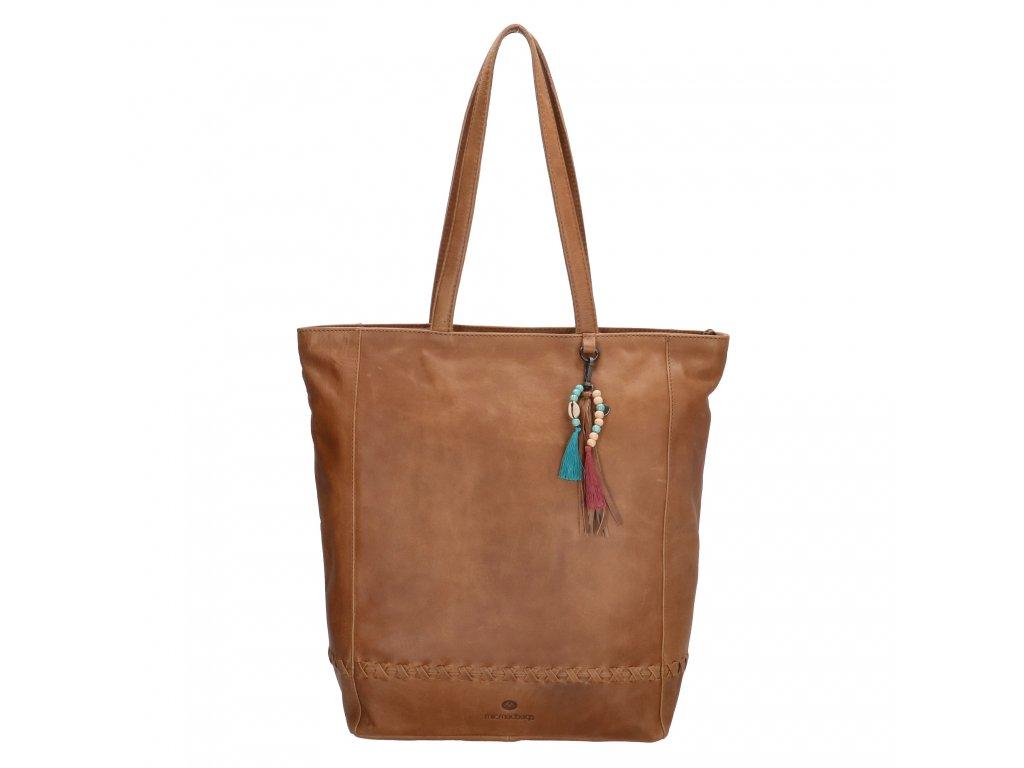 Dámska kožená taška shoperka Micmacbags friendship - hnedá