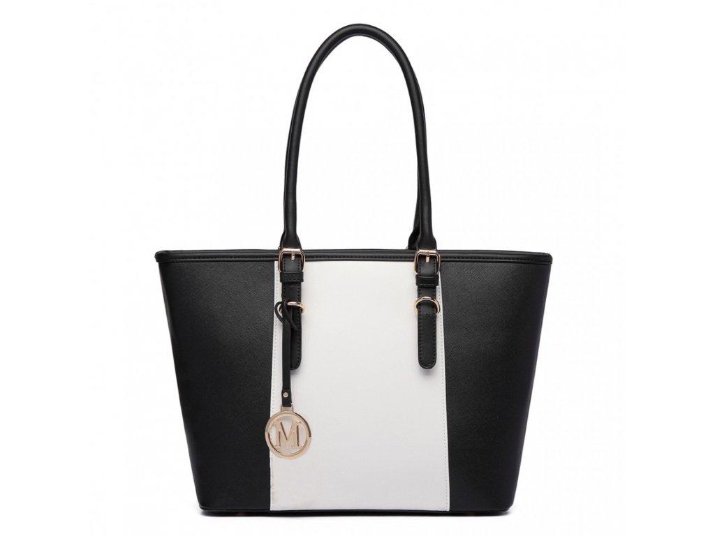 Elegantná kabelka Miss Lulu Stripe - čierna s bielym pruhom