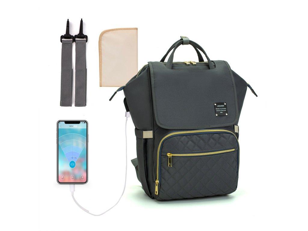 Multifunkčný dizajnový Mama batoh proti vykradnutiu Lequeen - tmavosivý