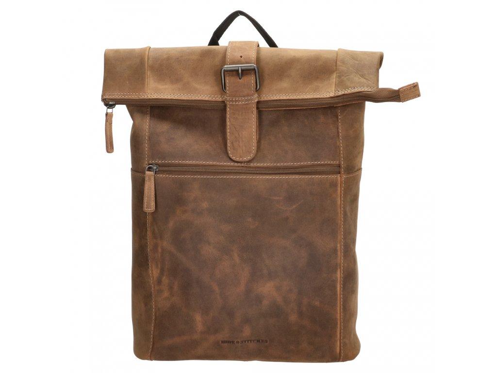 Kožený unisex batoh Hide & Stitches Idaho - hnedý 19L