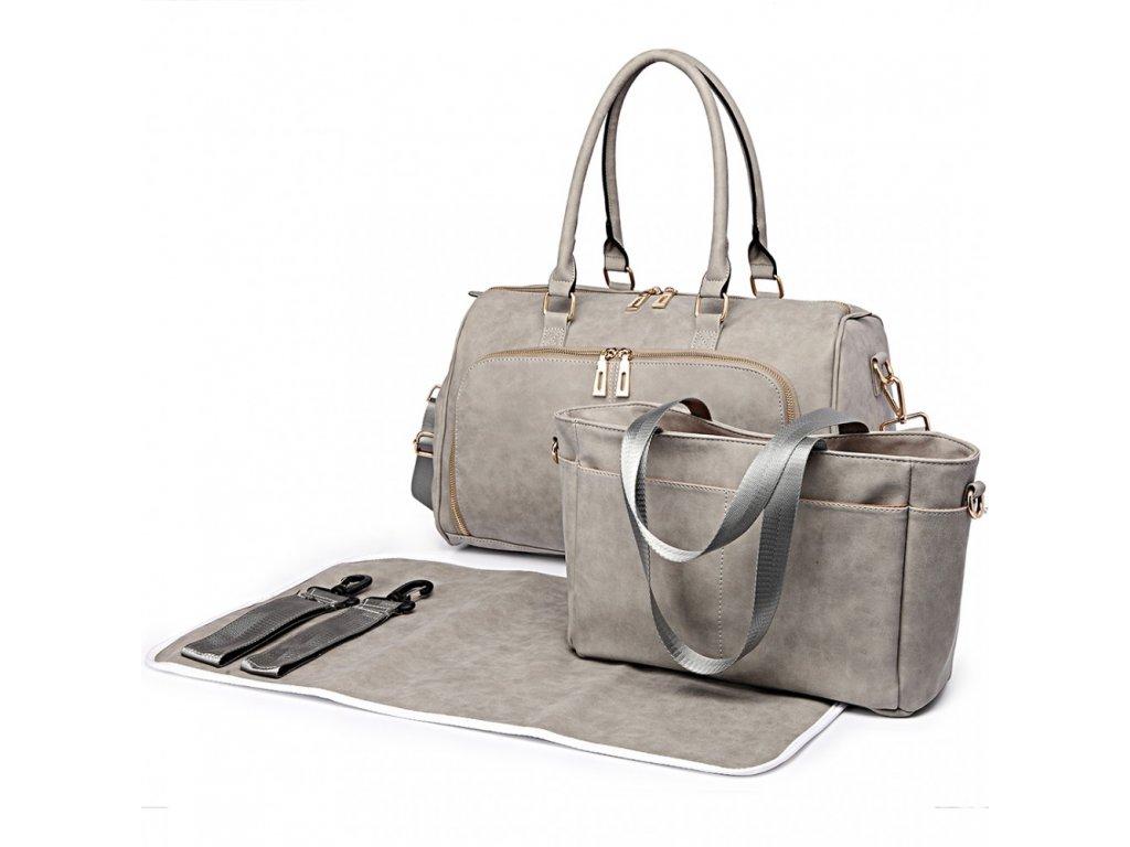 Sada luxusných materských tašiek - svetlo sivá