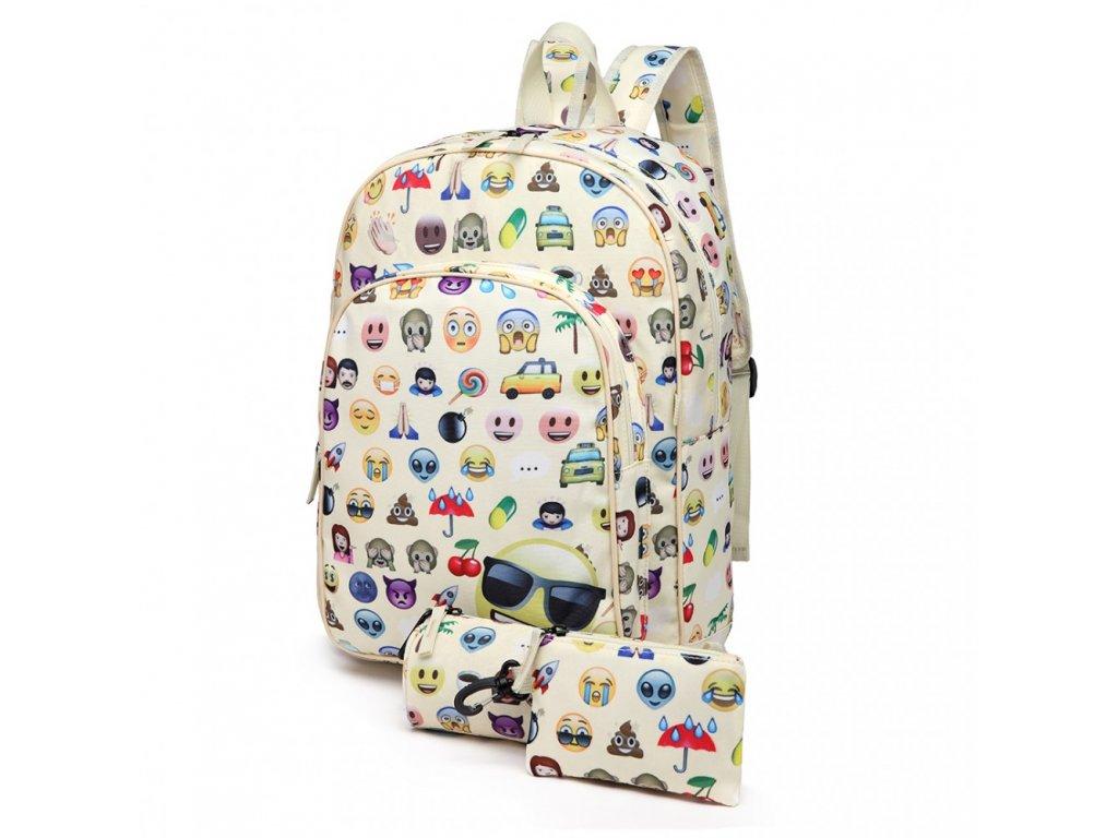 Školská 3-dielna sada: batoh, peračník, peňaženka - biely