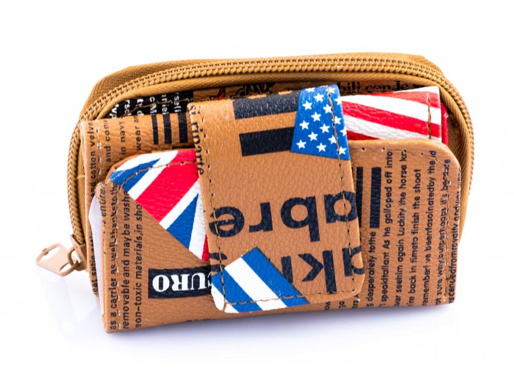 Mini peňaženka - hnedá - anglická vlajka
