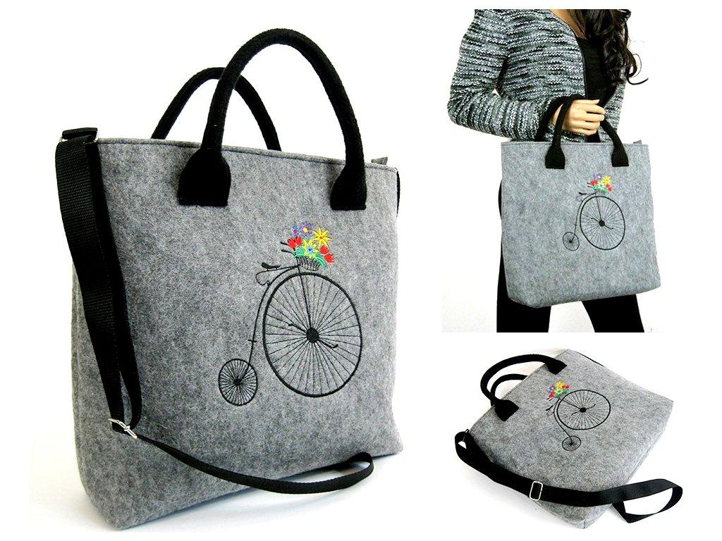 Kabelka Love - bicykel Paris sv. šedá