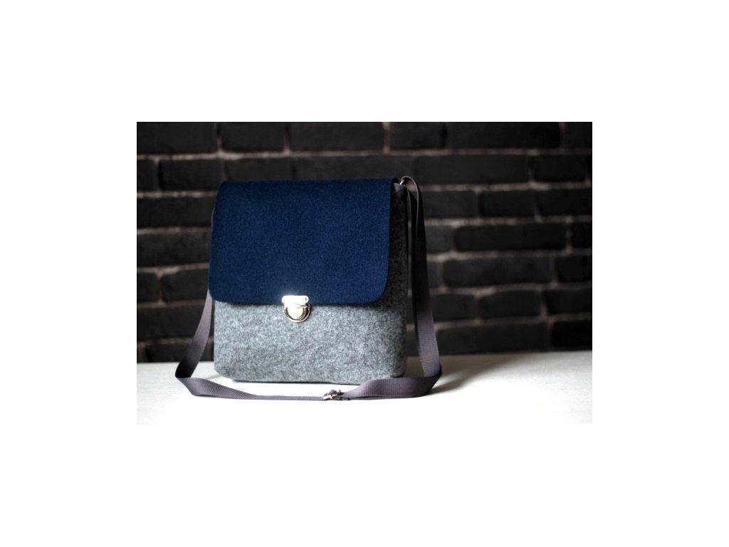Kabelka designová modro - šedá
