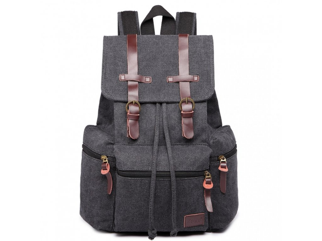 Veľký outdoorový multifunkčný pánsky batoh KONO - čierny