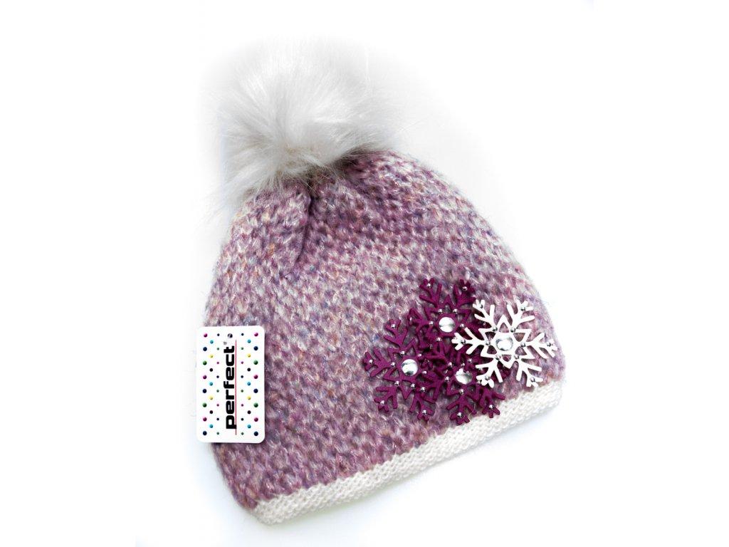 dfd9692fc ... Fialovo - ružová zateplená dámska čiapka s vločkami - Perfect