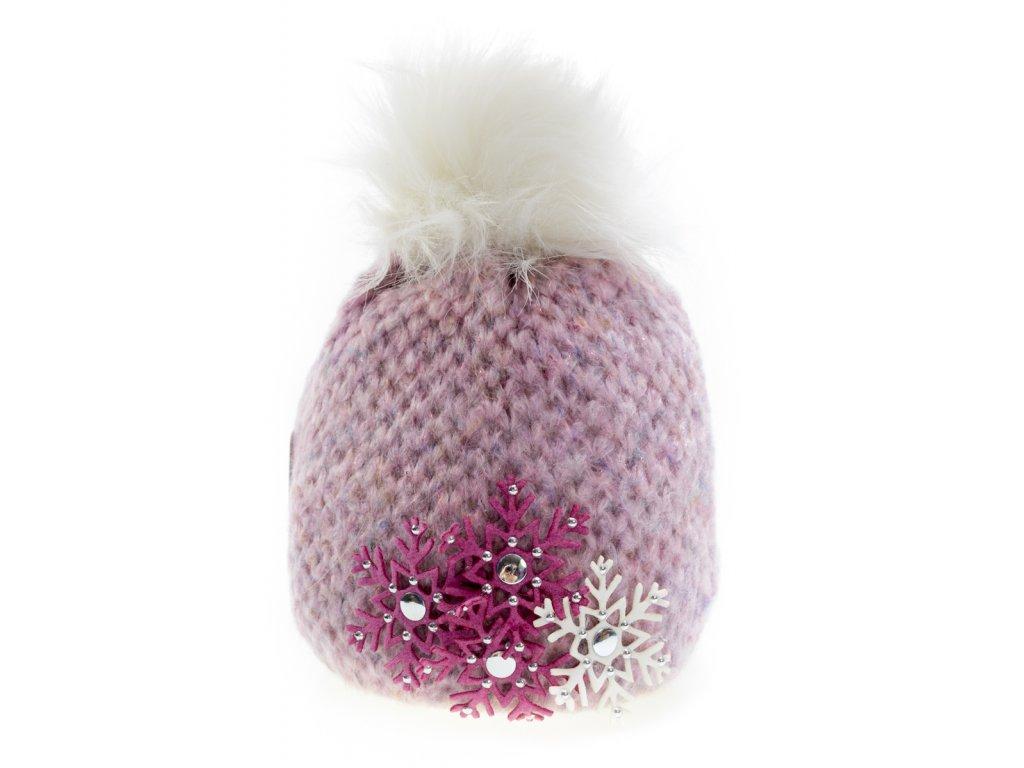 40938f91d Fialovo - ružová zateplená dámska čiapka s vločkami - Perfect ...