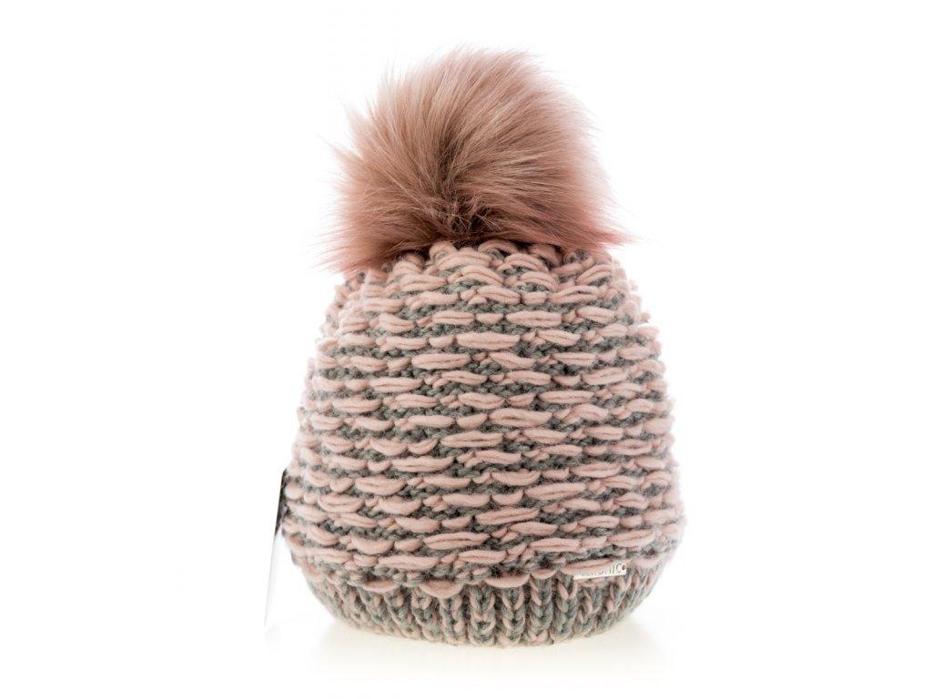 f577d9744 Ružová melírová zimná dámska čiapka s veľkým brmbolcom - Veronic ...