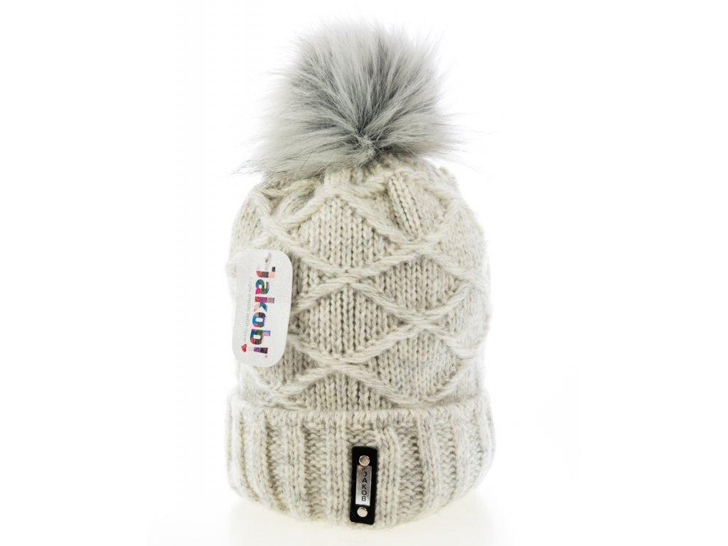 359a01529 Sivá melírovaná zimná dámska čiapka s veľkým brmbolcom - Jacob ...