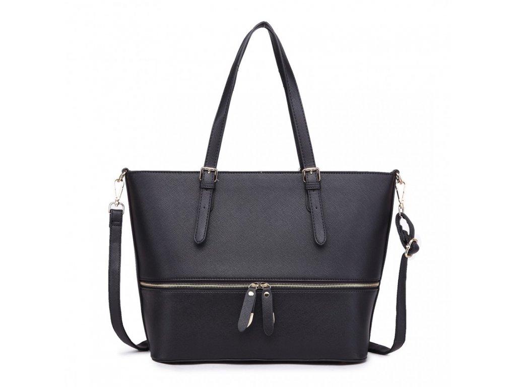 651ad9c9d Štýlová dámska elegantná kabelka so zipsom - čierna - Batoháreň.sk