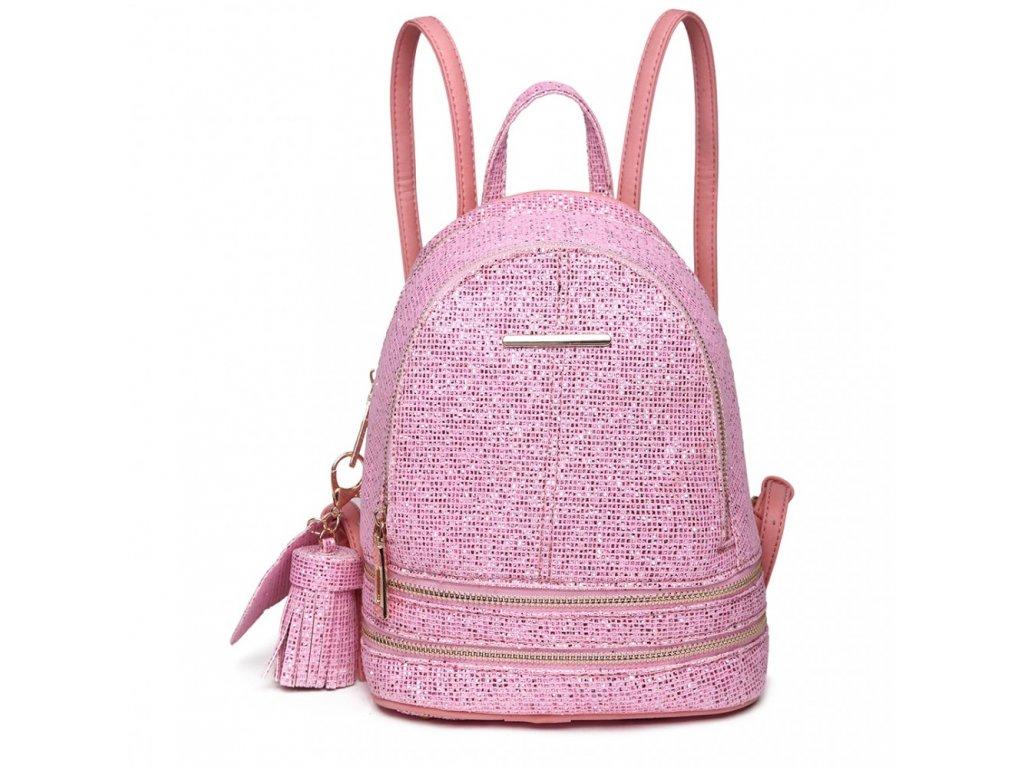Roztomilý dizajnový batôžtek - ružový s trblietkami