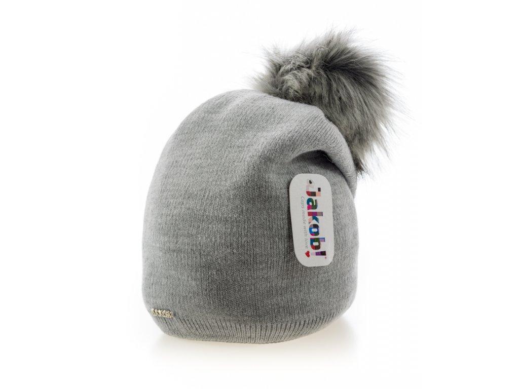 3c44ebce1 Sivá zimná dámska homeless čiapka s veľkým brmbolcom - Jacob ...