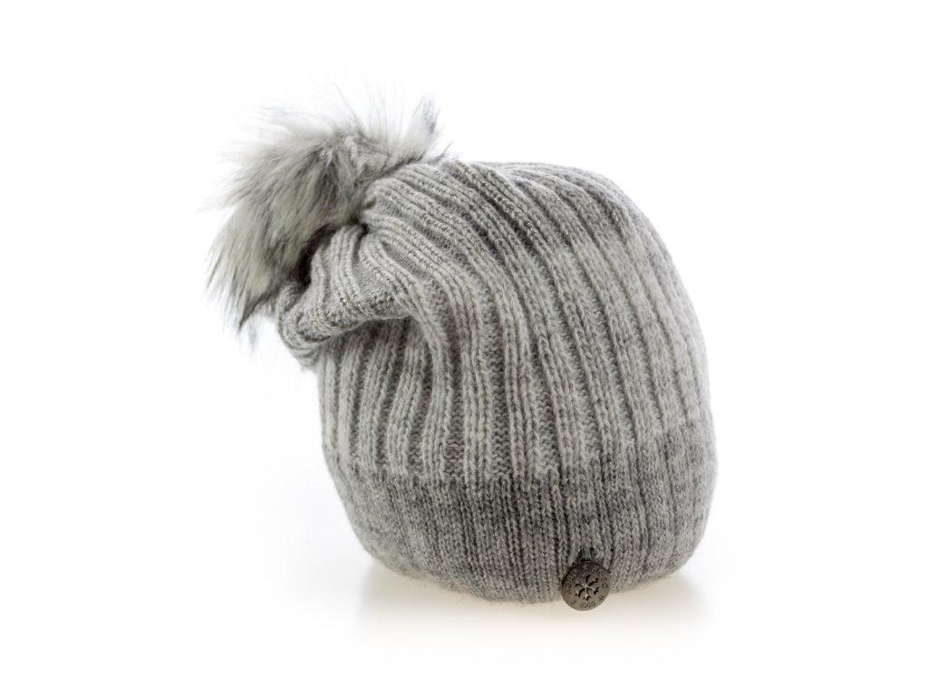 1df9e5102 Sivá zimná dámska homeless čiapka s veľkým brmbolcom - AGBO ...