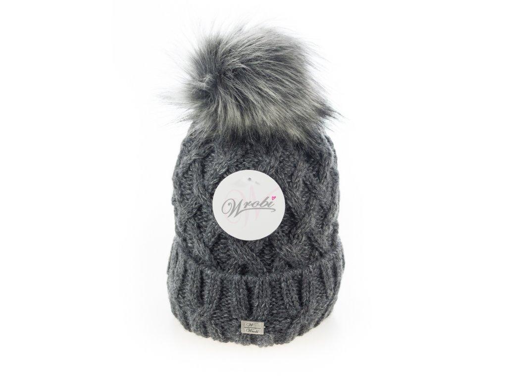 bd5eb52aa Tmavo šedá zimná dámska čiapka s veľkým brmbolcom - Wrobi - Batoháreň.sk