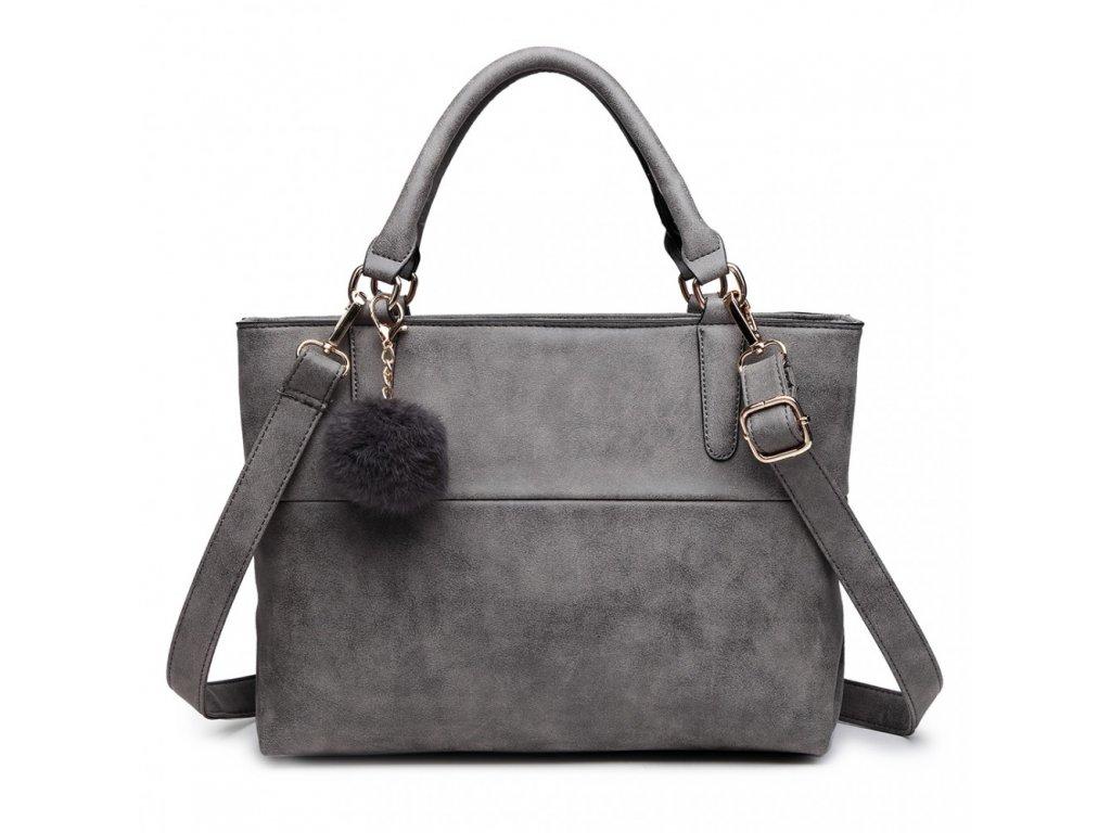 Miss Lulu - žíhaná kabelka - sivá