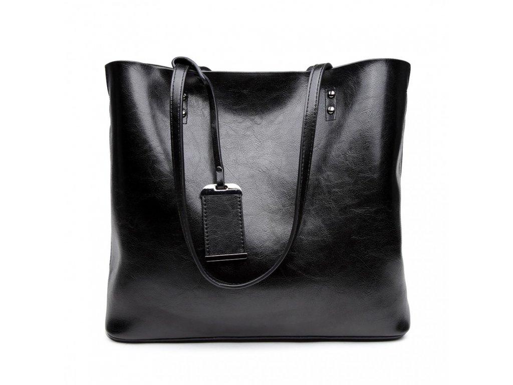 Čierna elegantná dámska taška na rameno - lesklá koža
