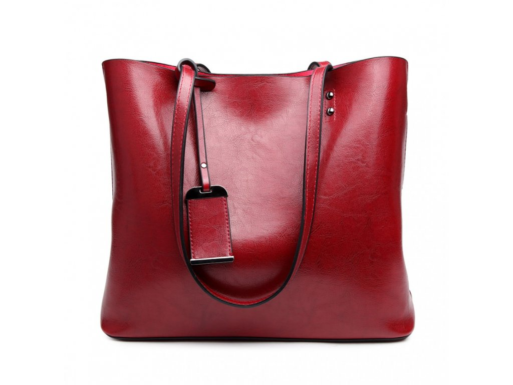 Červená elegantná dámska taška na rameno - lesklá koža