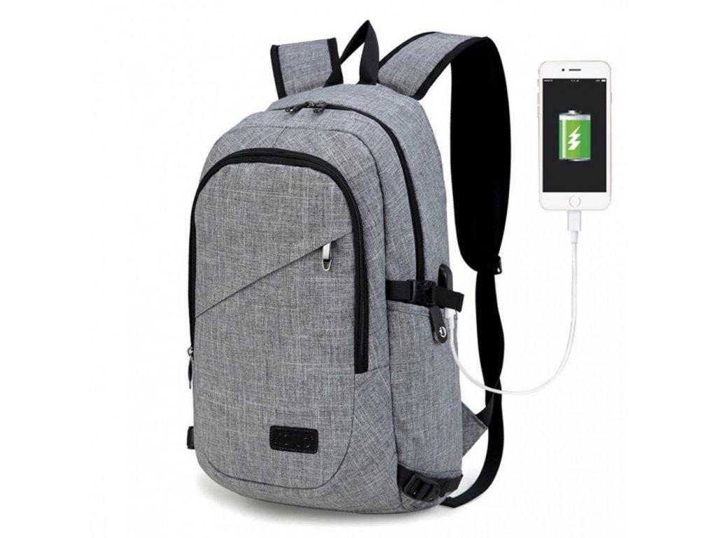 Chytrý batoh novej generácie s USB portom  - šedý