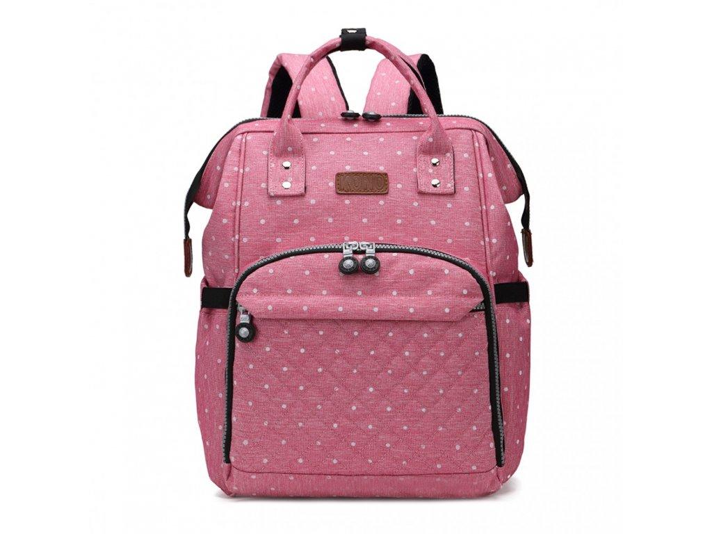Prebalovací batoh na kočík - ružový bodkovaný