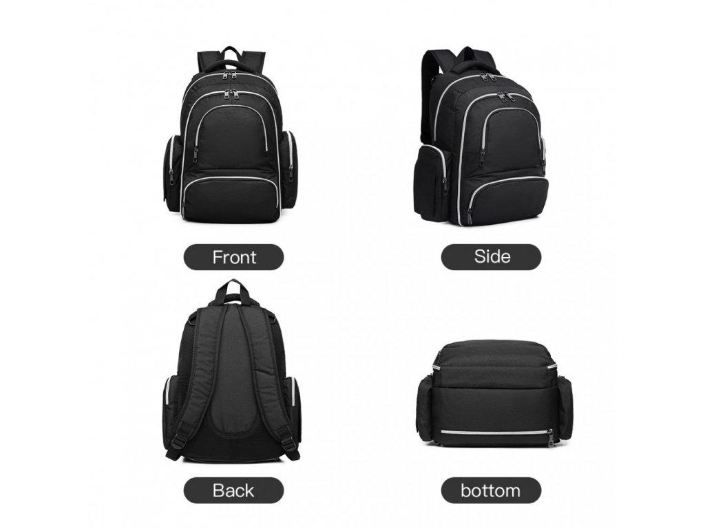 Prebalovací batoh s doplnkami na kočík - čierny