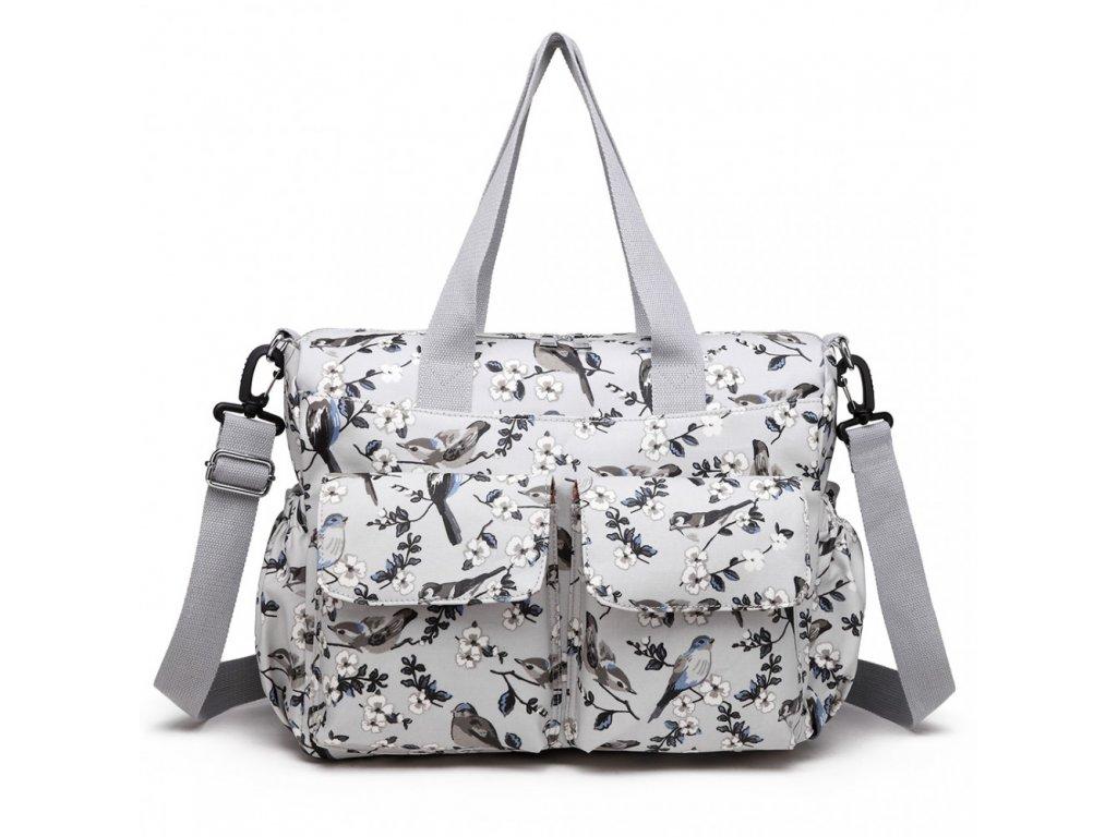 Taška na kočík - biela s vtáčikmi