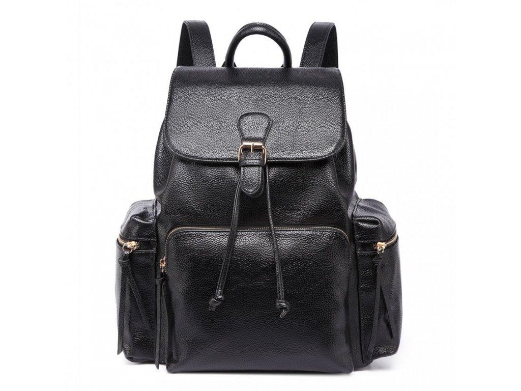Priestranný dámsky batoh - čierny