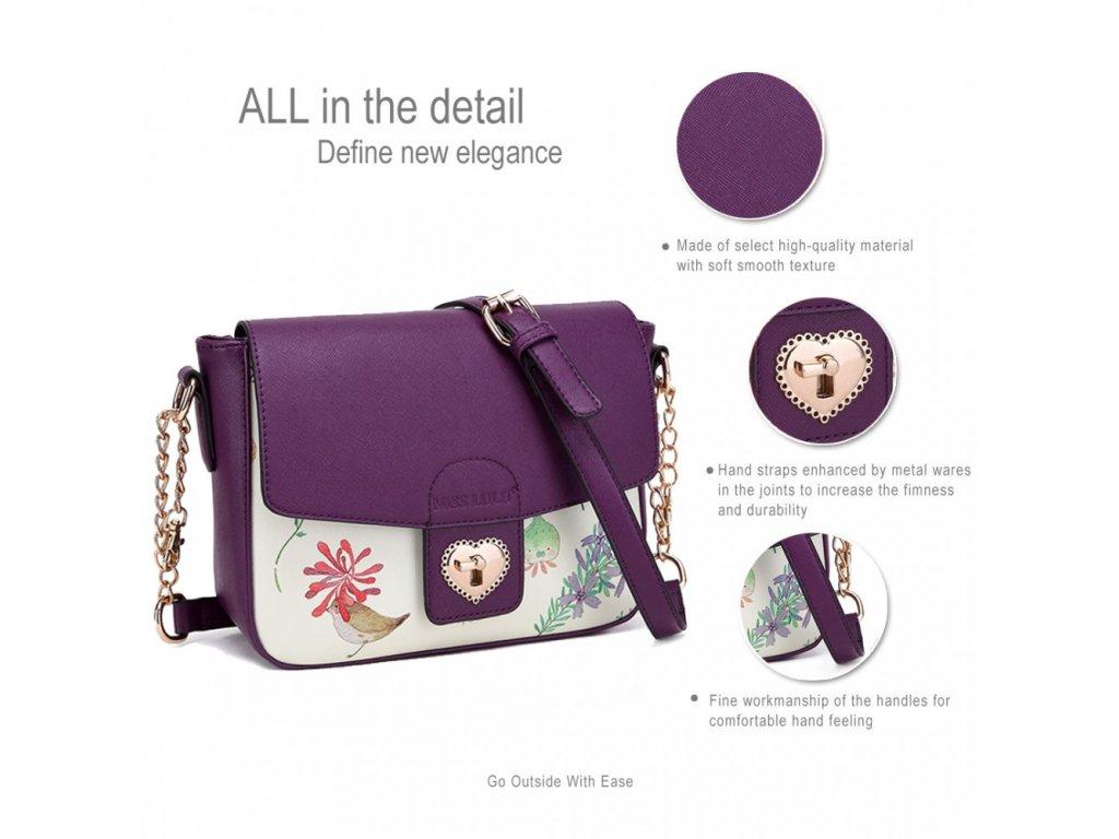 2e0e8a0a4b ... Malá crossbody elegantná kabelka s kvetinovým vzorom - fialová ...