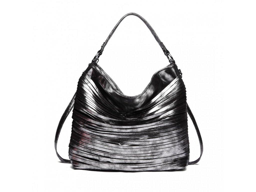 800e1d443 ... Elegantná štýlová dámska kabelka s prúžkami na rameno - čierna ...