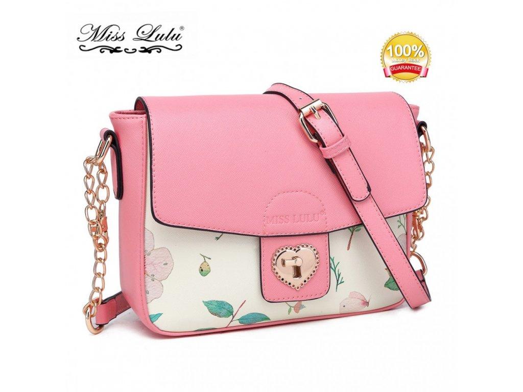 a3970163e4 Malá crossbody elegantná kabelka s kvetinovým vzorom - ružová ...