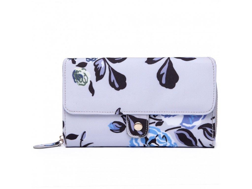 Praktická peňaženka - sivá s ružičkami