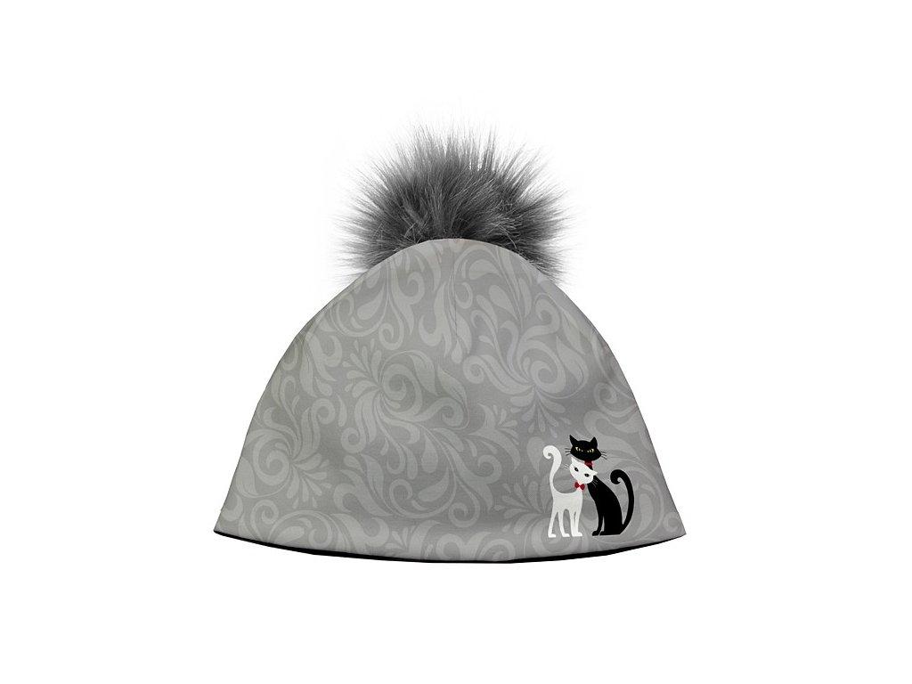 05eb7776d Dizajnová dámska čiapka s veľkým brmbolcom - Black and White ...