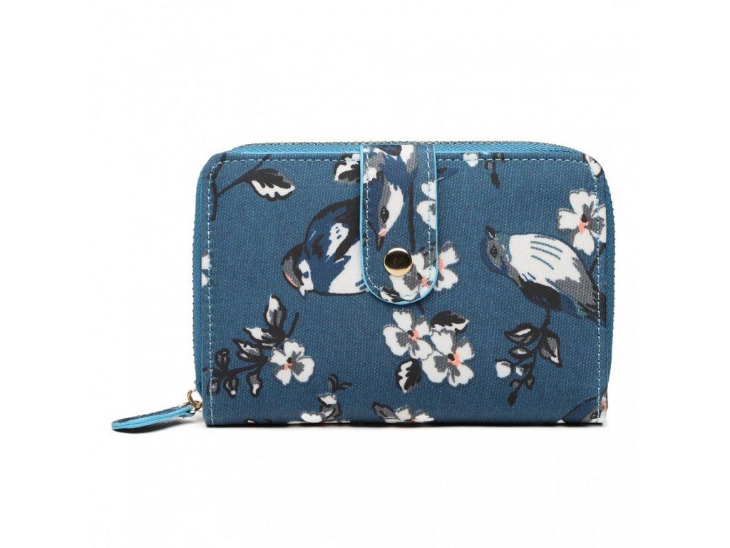 Dámska peňaženka - modrá s vtáčikmi - malá